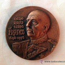 Antigüedades: MEDALLA DE COBRE DEL GENERALÍSIMO FRANCO 1892- 1975. TESTAMENTO DE FRANCO.. Lote 38092022