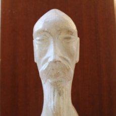 Antigüedades: ANTIGUA ESCULTURA TALLA DE BUSTO CHINO EN ALABASTRO. Lote 38104186