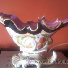 Antigüedades: ANTIGUO CENTRO DE MESA EN CERÁMICA MANISES PINTADO A MANO.. Lote 38111132