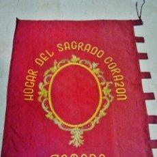 Antigüedades: GRAN ESTANDARTE ANTIGUO EN SEDA. HOGAR DEL SAGRADO CORAZÓN, COLEGIO RELIGIOSAS ADORATRICES (ZAMORA).. Lote 38116014