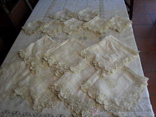 Antigua manteler a completa de lino con bordado comprar - Manteles de lino ...