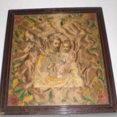 Antigüedades: ANTIGUO BORDADO RELIGIOSO CON SAN JOSÉ Y EL NIÑO. SEDA. S.XIX.. Lote 38126559