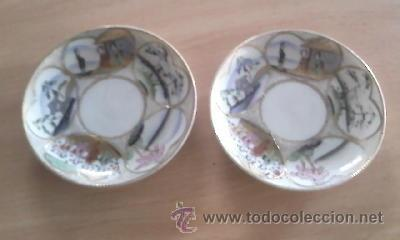 LOTE DE 2 PLATILLOS DE PORCELANA CHINA DECORADOS A MANO 18% ORO.IMPECABLES. (Antigüedades - Porcelanas y Cerámicas - China)