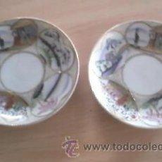 Antigüedades: LOTE DE 2 PLATILLOS DE PORCELANA CHINA DECORADOS A MANO 18% ORO.IMPECABLES.. Lote 38128489
