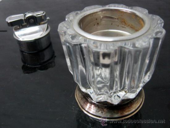 Antigüedades: Mechero Prince recargable de mesa - Cristal nervado y Plata 925 / Plata de ley ( punzonado ) - Foto 3 - 38219047