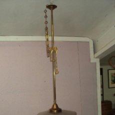 Antigüedades: PRECIOSA LAMPARA ESTILO IMPERIO LATÓN/CRISTAL. Lote 38206117