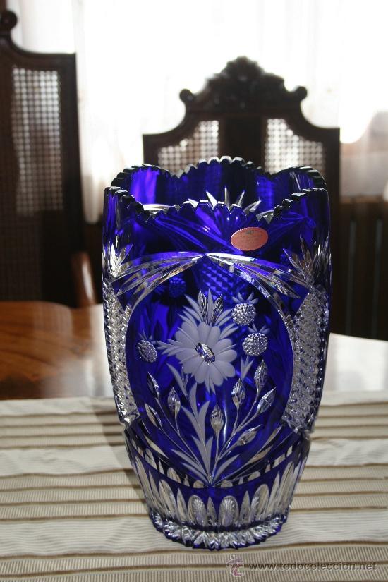 jarrn grande de cristal de schonborner hecho a mano en azul cobalto antigedades cristal