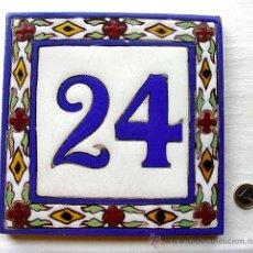 Antigüedades: AZULEJO ESMALTADO A LA CUERDA Nº 24. JOSE MENSAQUE. SEVILLA. TRIANA. PRINCIPIOS 1900-HAY MAS NÚMEROS. Lote 38232245