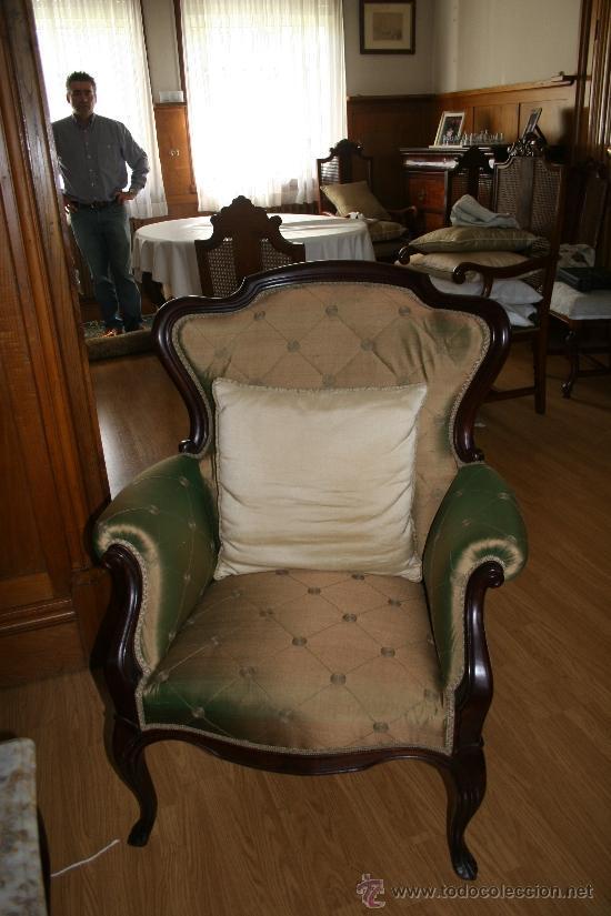 Antigüedades: Espectacular conjunto de sala de estar isabelina de castaño macizo con mesa de mármol a juego. Oport - Foto 3 - 38270907