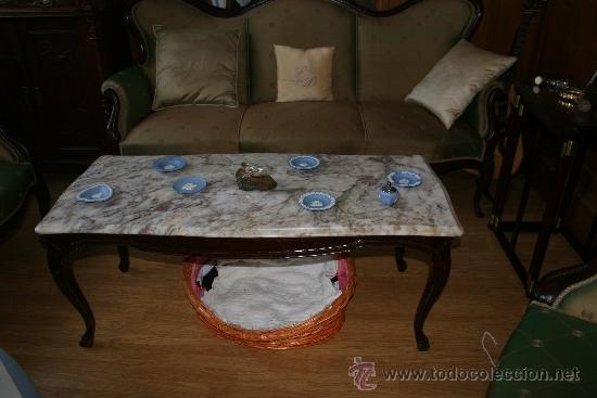 Antigüedades: Espectacular conjunto de sala de estar isabelina de castaño macizo con mesa de mármol a juego. Oport - Foto 4 - 38270907
