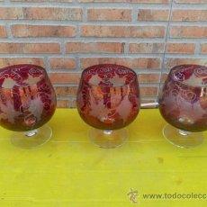 Antigüedades: 3 COPAS DE CRISTAL . Lote 38308970