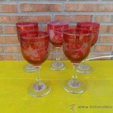Antigüedades: 5 COPAS DE CRISTAL GRANATE. Lote 38308984