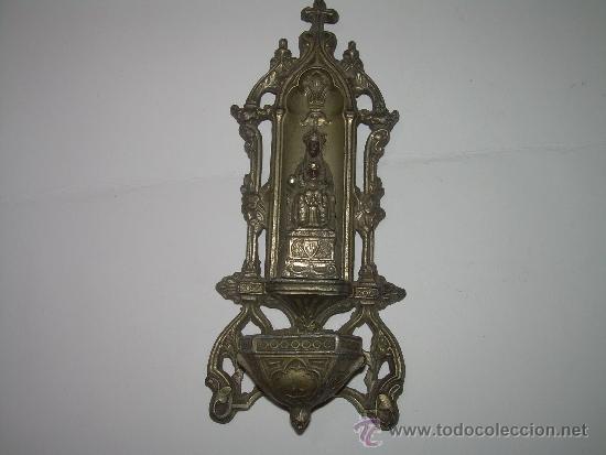 Antigüedades: ANTIGUA Y BONITA BENDITERA DE CALAMINA....N.SRA. DE MONTSERRAT - Foto 2 - 38354670