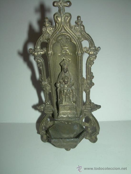 Antigüedades: ANTIGUA Y BONITA BENDITERA DE CALAMINA....N.SRA. DE MONTSERRAT - Foto 3 - 38354670