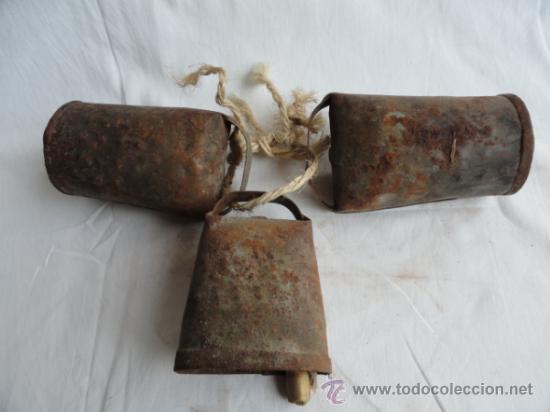 Antigüedades: LOTE DE 3 ANTIGUOS CENCERROS. - Foto 2 - 38360216