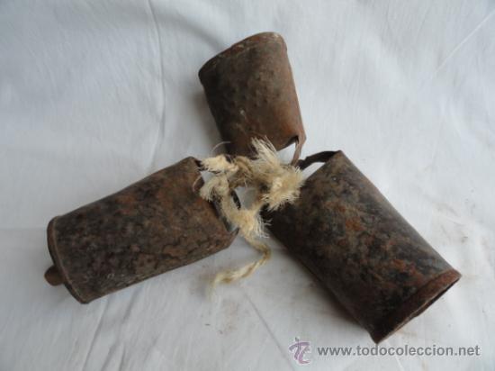Antigüedades: LOTE DE 3 ANTIGUOS CENCERROS. - Foto 3 - 38360216