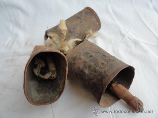 Antigüedades: LOTE DE 3 ANTIGUOS CENCERROS. - Foto 4 - 38360216
