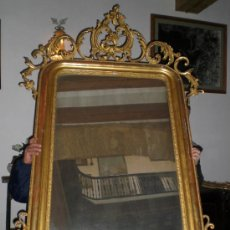 Antigüedades: MAGNIFICO ESPEJO ISABELINO (1862), TALLA DE MADERA, ESTUCO Y PAN DE ORO (GRAN TAMAÑO). Lote 38368511