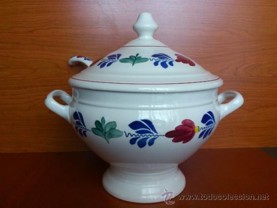 Antigüedades: Sopera antigua con cazo en ceramica ( Borenbont By BOCH ) Belgium - Foto 3 - 38434834