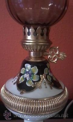 Antigüedades: Exquisita lampara de porcelana pintada a mano al oleo y dorado con dos piedras rojas.Italia. - Foto 2 - 38434234