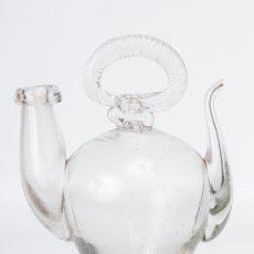 Antigüedades: BOTIJO PEQUEÑO DE VIDRIO SOPLADO TRANSPARENTE SIGLO XIX. Lote 38426954
