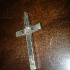 Antigüedades: CRUZ S XIX DE METAL NIQUELADO Y EBANO. Lote 38444478