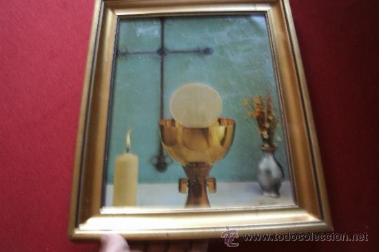 Antigüedades: ANTIGUO CUADRO CONCEPTUAL SOBRE LA COMUNIÓN - CRUZ + CALIZ + SADRADA FORMA - MARCO EN MADERA - Foto 5 - 38445665