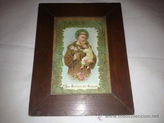 ANTIQUISIMO CUADRO DE SAN ANTONIO DE PADUA.!!!VER FOTOS!!! (Antigüedades - Religiosas - Varios)