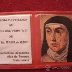 Antigüedades: ANTIGUO RELICARÍO ORIGINAL DE SANTA TERESA DE JESUS - PIEDRA PULVERIZADA DEL SEPULCRO PRIMITIVO -. Lote 38484267