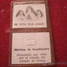 Antigüedades: ANTIGUO RELICARÍO EX INDUMENTIS ORIGINAL DE LAS MARTIRES DE GUADALAJARA TELA TOCADA A SUS CUERPOS. Lote 38484284