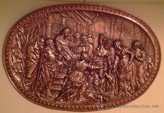 Antigüedades: Cobre Con Relieve Ovalado Juicio Del Rey Salomón Medidas 105X75CM - Foto 3 - 37801847