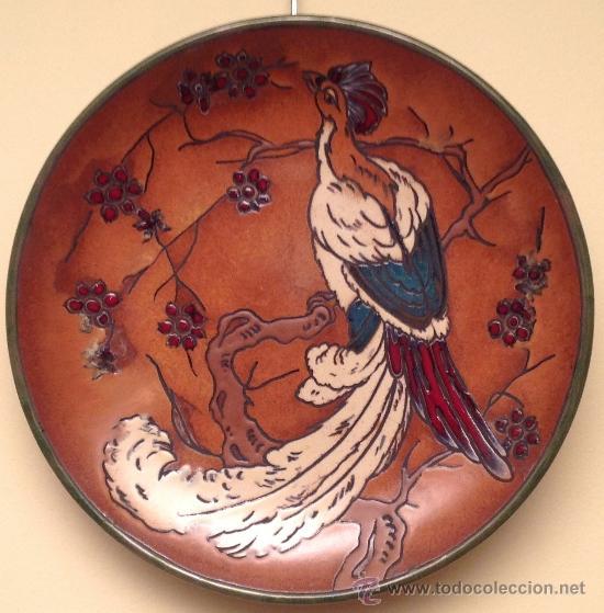 Antigüedades: Plato Modernista Porcelana Antiguo con Figura Ave Año 1890 - Foto 2 - 37801906