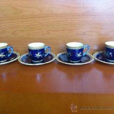 Antigüedades: JUEGO DE 4 SERVICIOS DE CAFÉ EN PORCELANA ( CIEN ), FRANCE PINTADO A MANO. Lote 38515489