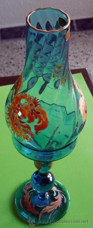 Antigüedades: Portavelas de dos piezas vidrio soplado y esmaltado al horno (Original para coleccionista) - Foto 7 - 38804819