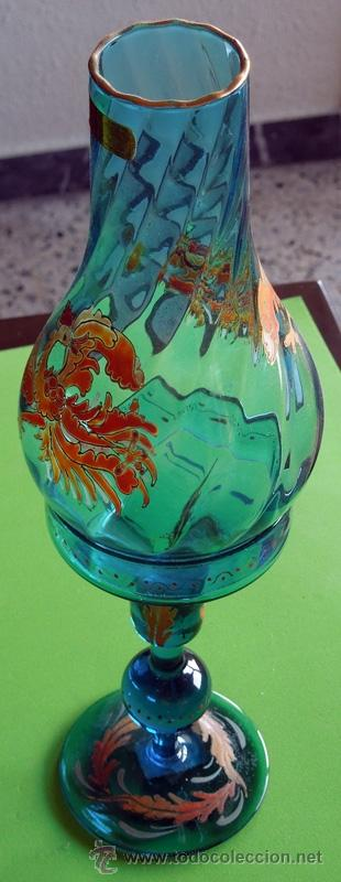 Antigüedades: Portavelas de dos piezas vidrio soplado y esmaltado al horno (Original para coleccionista) - Foto 6 - 38804819