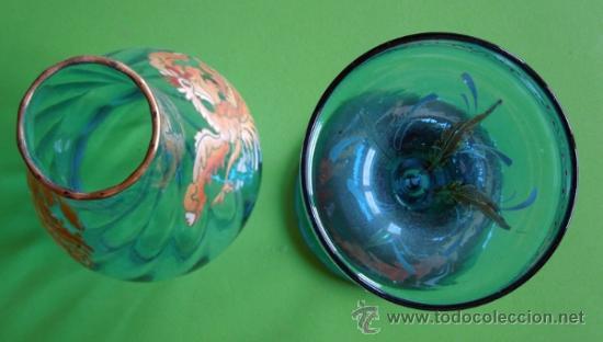 Antigüedades: Portavelas de dos piezas vidrio soplado y esmaltado al horno (Original para coleccionista) - Foto 5 - 38804819