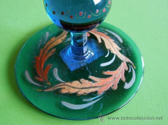 Antigüedades: Portavelas de dos piezas vidrio soplado y esmaltado al horno (Original para coleccionista) - Foto 3 - 38804819