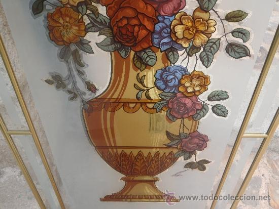 VIDRIERA CRISTALERA CON ESTRUCTURA DE ALUMINIO EN ORO 1,40 X 50 (Antigüedades - Cristal y Vidrio - Otros)