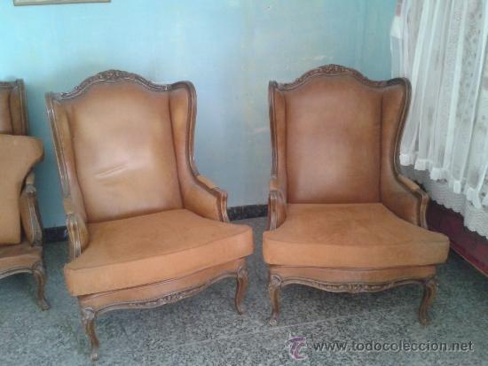 2 sillones italianos de madera noble y piel est comprar - Sillones de madera antiguos ...