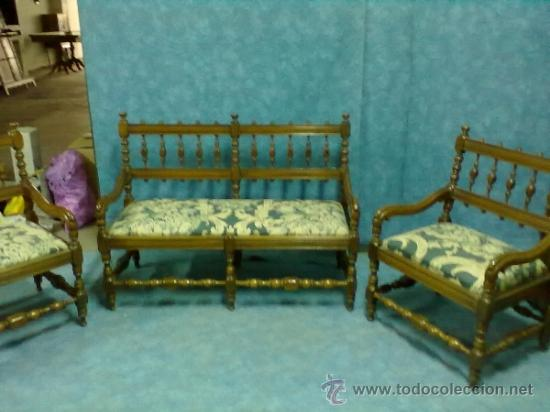 Tresillo madera torneada sillones sofa comprar sof s for Muebles el tresillo