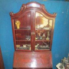 Antigüedades: MUEBLE ESCRITORIO INGLES CON VITRINA CHAPADO EN CAOBA.. Lote 27163696