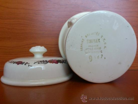 Antigüedades: Tarro antiguo en loza de foie gras SIMPLEX, firmado - Foto 7 - 38538338
