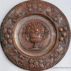 Antigüedades: ANTIGUA BANDEJA DE COBRE REPUJADO. Lote 38559365