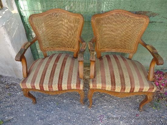 Pareja de butacas sillas o sillones de rejilla comprar - Sillones de madera antiguos ...