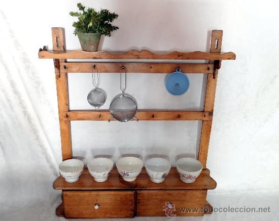 Antiguo mueble r stico estanter a de cocina comprar for Simulador de muebles de cocina online