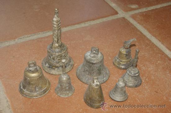 GRAN LOTE DE 8 CAMPANA MUY ANTIGUAS DE BRONCE, A IDENTIFICAR (Antigüedades - Varios)