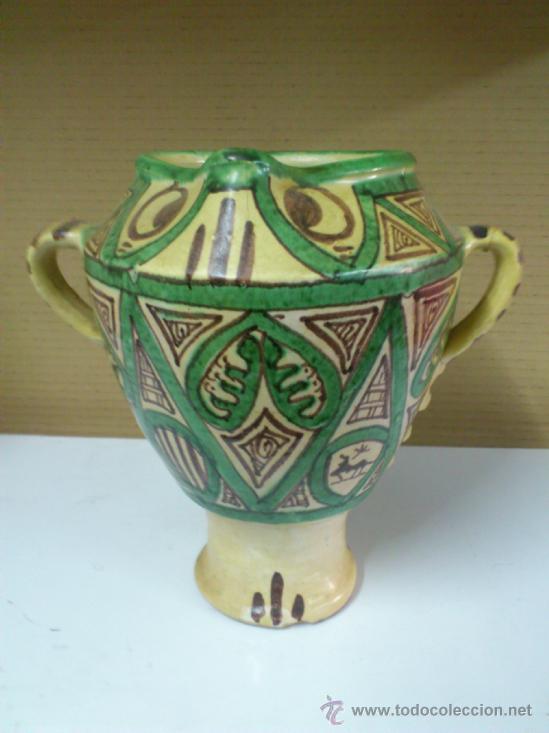 JARRON OLLA U ORZA CERAMICA DE TERUEL -- PUNTER. 23,5 CM. DE ALTURA (Antigüedades - Porcelanas y Cerámicas - Teruel)