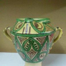 Antigüedades: JARRON OLLA U ORZA CERAMICA DE TERUEL -- PUNTER. 23,5 CM. DE ALTURA. Lote 38589743