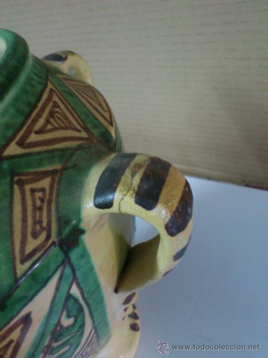 Antigüedades: JARRON OLLA U ORZA CERAMICA DE TERUEL -- PUNTER. 23,5 CM. DE ALTURA - Foto 3 - 38589743