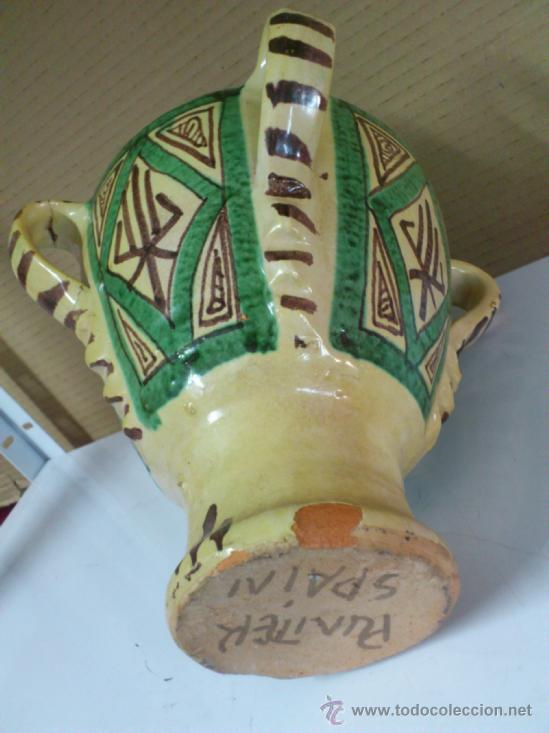 Antigüedades: JARRON OLLA U ORZA CERAMICA DE TERUEL -- PUNTER. 23,5 CM. DE ALTURA - Foto 4 - 38589743